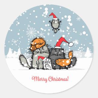 Cartoon Cat Family Classic Round Sticker