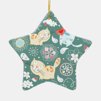Cartoon Cat Illustration Ceramic Star Decoration