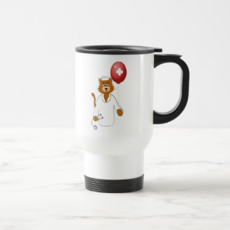 Cartoon Cat Nurse with Balloon Travel Mug
