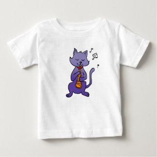 Cartoon cat playing flute baby T-Shirt