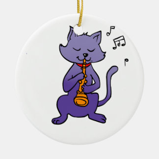 Cartoon cat playing flute ceramic ornament