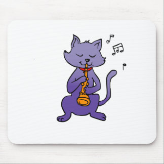 Cartoon cat playing flute mouse pad
