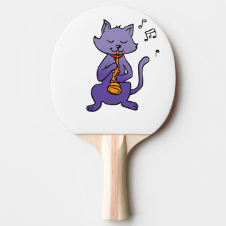 Cartoon cat playing flute ping pong paddle