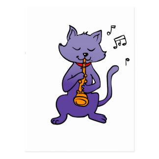 Cartoon cat playing flute postcard