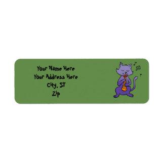 Cartoon cat playing flute return address label