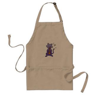 Cartoon cat playing flute standard apron
