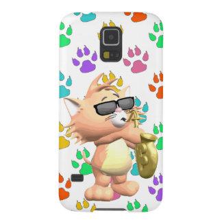 Cartoon Cat Samsung Galaxy S5 Case-Multi Paw Print Galaxy S5 Case