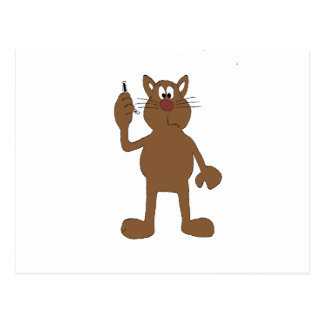 Cartoon Cat With Cell Phone Postcard