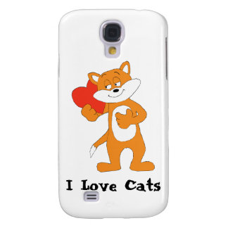 Cartoon Cat With Heart Galaxy S4 Case