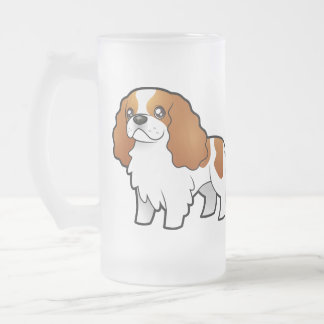 Cartoon Cavalier King Charles Spaniel Frosted Glass Beer Mug