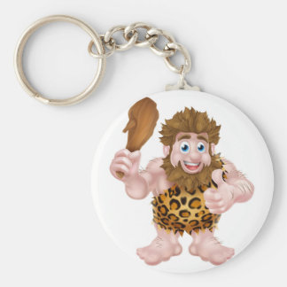 Cartoon Caveman Giving Thumbs Up Key Ring