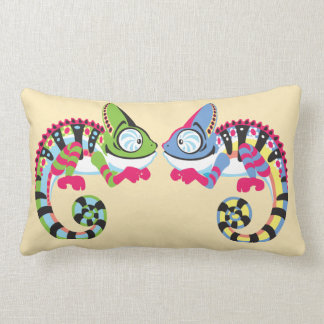 cartoon chameleon lumbar cushion
