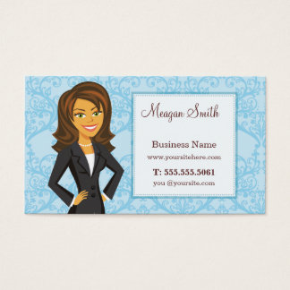 Cartoon Character Blue Damask Business Cards