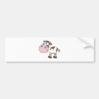 Cartoon Character Calf Different Color White Bumper Sticker