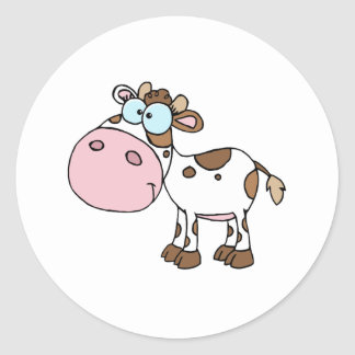 Cartoon Character Calf Different Color White Stickers