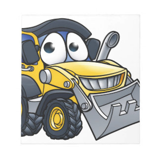 Cartoon Character Digger Bulldozer Notepad