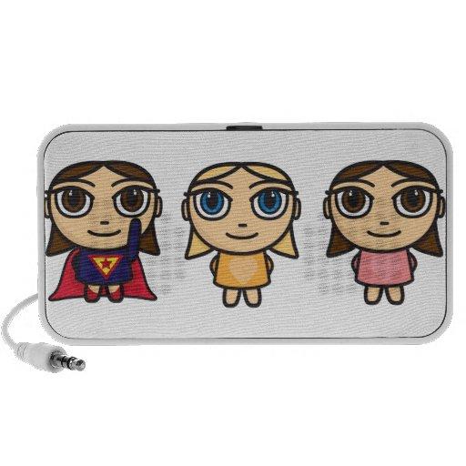 Cartoon Character Girls Doodle Stickers Portable Speaker