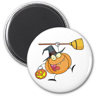 Cartoon Character Halloween Happy Pumkin with a br 6 Cm Round Magnet