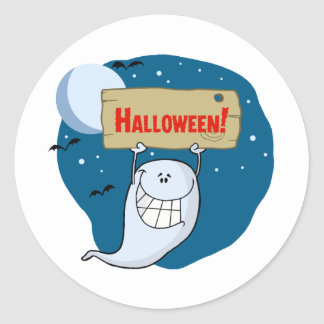 Cartoon Character Happy ghost with plate Round Stickers