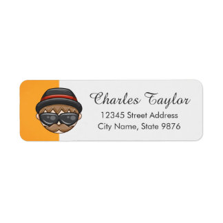 Cartoon Character Hipster Guy on Gold Return Address Label