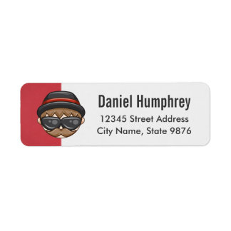 Cartoon Character Hipster Guy on Ruby Red Return Address Label