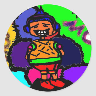 Cartoon character(Mo)w/ multi colored background Round Stickers