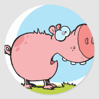 Cartoon Character Pig Looks Scared Round Sticker