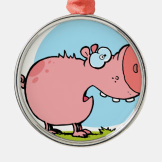 Cartoon Character Pig Looks Scared Silver-Colored Round Decoration