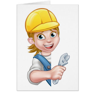 Cartoon Character Plumber Woman Card