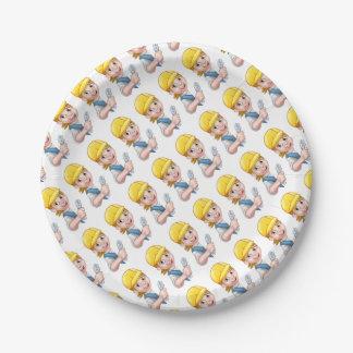 Cartoon Character Plumber Woman Paper Plate