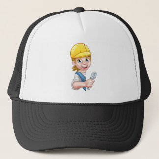 Cartoon Character Plumber Woman Trucker Hat