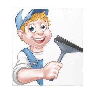 Cartoon Character Window Cleaner Notepad