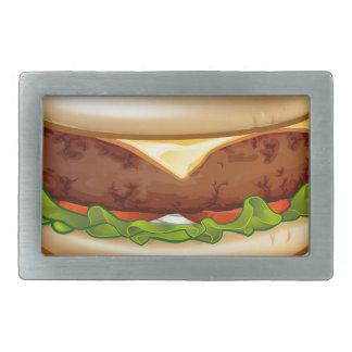 Cartoon Cheese Burger Rectangular Belt Buckles