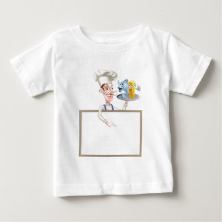 Cartoon Chef Holding Fish and Chips Sign Baby T-Shirt