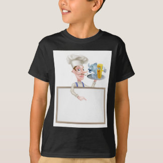 Cartoon Chef Holding Fish and Chips Sign T-Shirt
