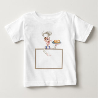 Cartoon Chef Holding Hotdog Pointing at Sign Baby T-Shirt