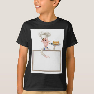 Cartoon Chef Holding Hotdog Pointing at Sign T-Shirt