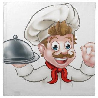 Cartoon Chef Holding Plate or Platter Napkin