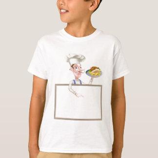 Cartoon Chef Kebab Signboard T-Shirt