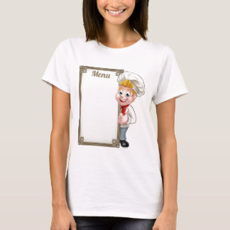 Cartoon Chef or Baker Character Menu T-Shirt