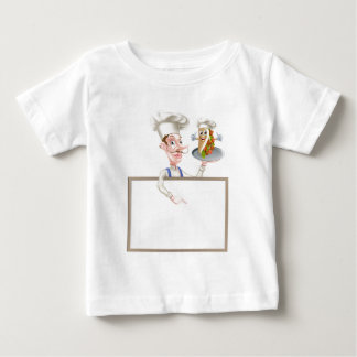 Cartoon Chef Pointing at Kebab Sign Baby T-Shirt