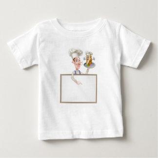 Cartoon Chef Pointing at Kebab Sign Baby T-Shirt