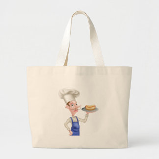 Cartoon Chef With Hot Dog Large Tote Bag