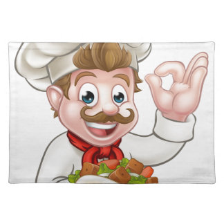 Cartoon Chef with Kebab Placemat