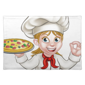 Cartoon Chef Woman and Pizza Placemat