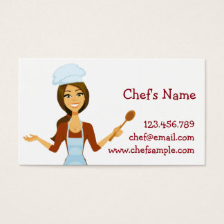 Cartoon Chef Woman Business Card