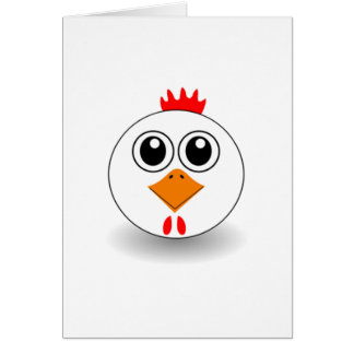 Cartoon Chicken Face Card