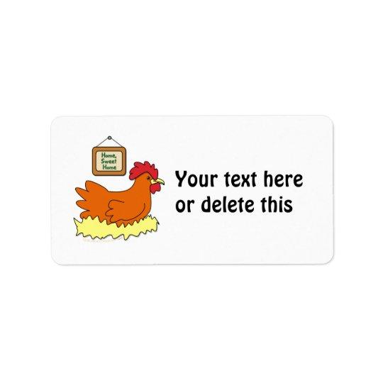 Cartoon Chicken in Nest Home Sweet Home Address Label
