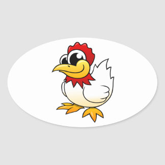 Cartoon Chicken Oval Sticker