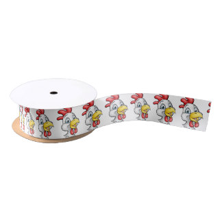Cartoon Chicken Rooster Character Satin Ribbon